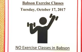 Flier that seems to say there are exercise classes but there are no exercise classes