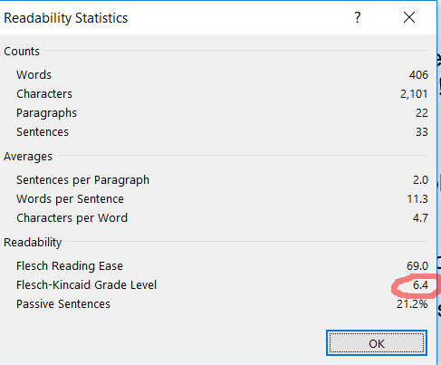 screenshot showing readability statistics from MS Word